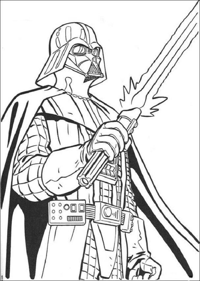 dibujo para colorear del personaje Darth Varder Guerra de las Galaxias