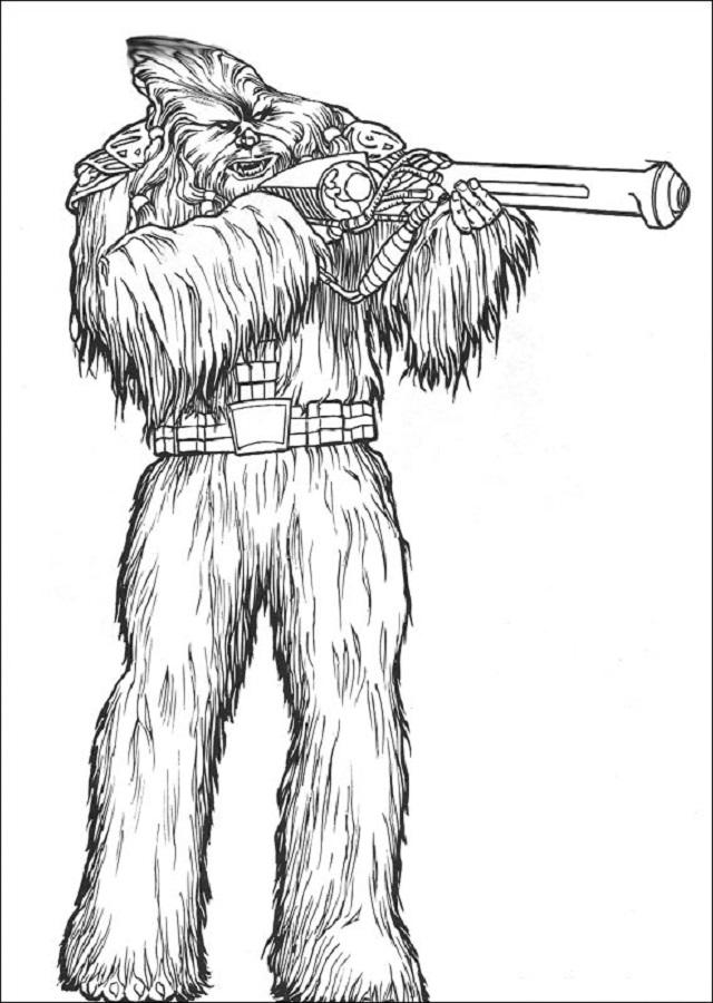 imagen para colorear del personaje Chewbacca Star Wars