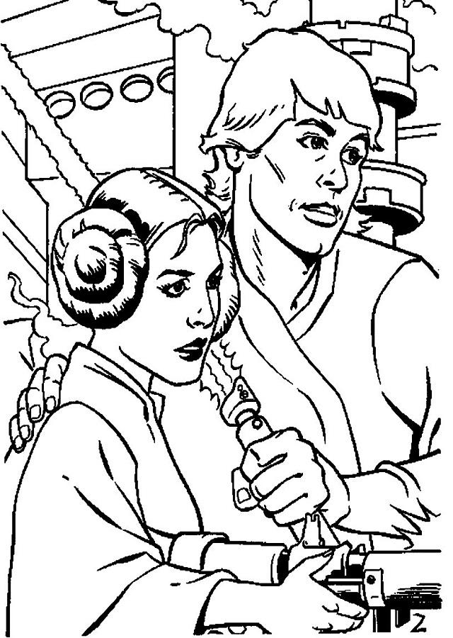 dibujo de los personajes de la saga Luke y Leia