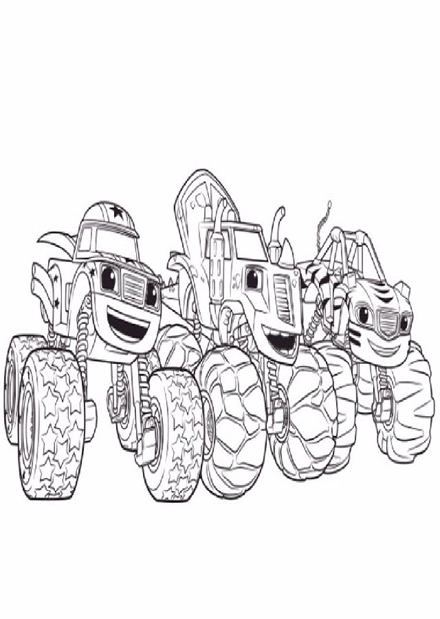 imagen para colorear de los Monster Machines; Darigton, Zeg y Stripes