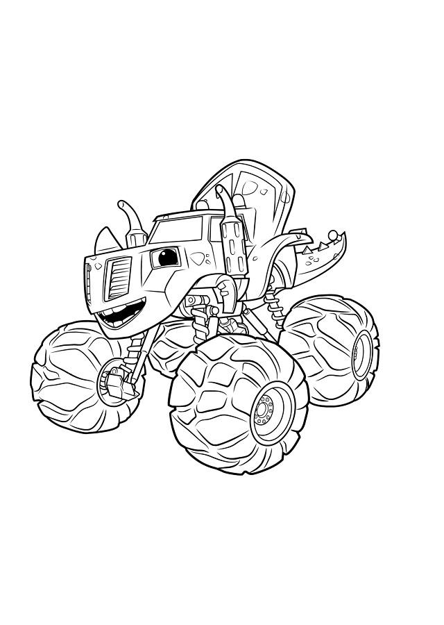 imagen para colorear de Zeg que es una parte triceratopy otra parte máquina monstruosa, Zeg es el mejor amigo prehistórico de Blaze. Sus actividades favoritas son aplastar y devastar, pero a pesar de sus brutas tendencias, por dentro es delicado, gentil y con una gran risa amorosa.