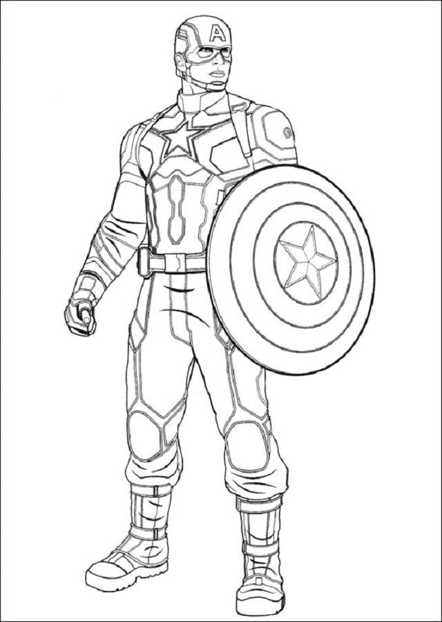 imagen para colorear del capitan america