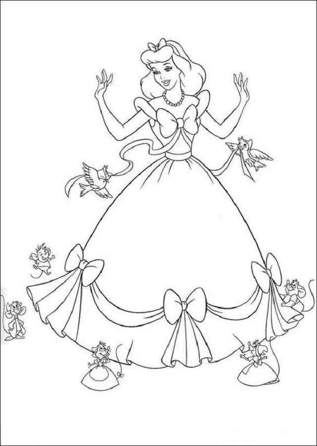 imagen colorear cuando cenicienta le hacen el vestido para ir a la fiesta del principe