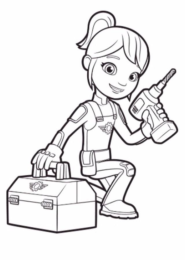 Gabby es una chica mecánico de 9 años que sabe mucho de los camiones monstruo.