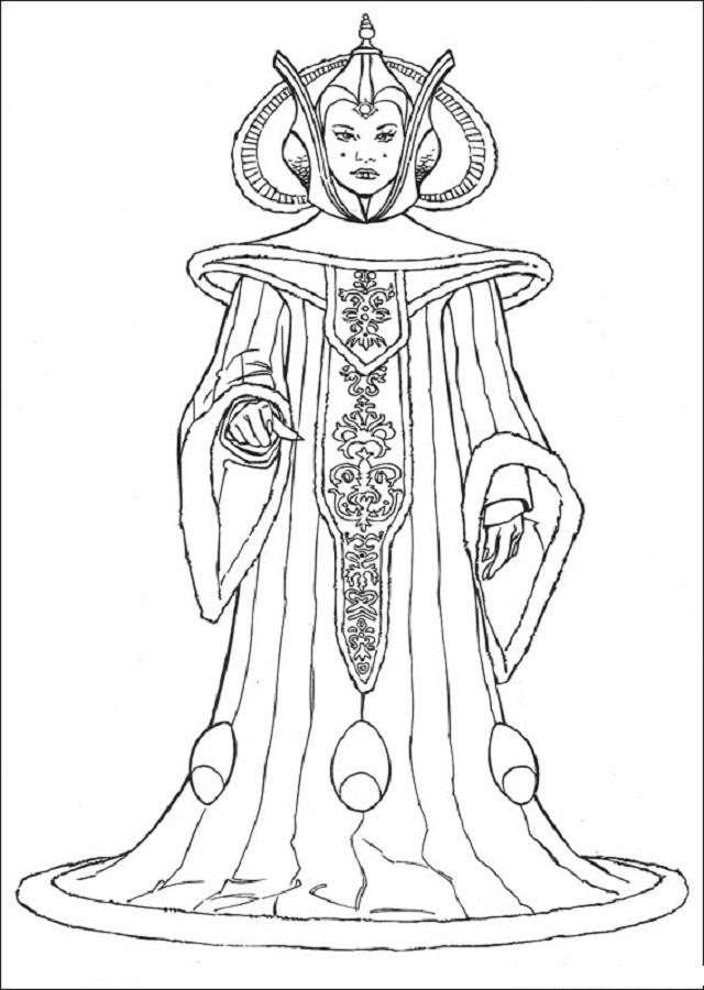 imagen para colorear de la propagonista de la pelicula star wars