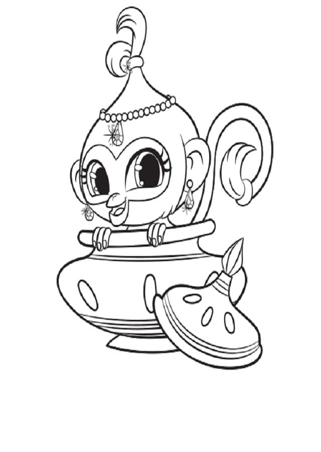Es el mono gibón de Shimmer, muy dulce y juguetón. Le encanta subirse a Shimmer y sentarse sobre sus hombros y su cabeza. También es capaz de treparse a lo que sea para alcanzar cualquier objeto brillante que atraiga su mirada. Es muy vanidosa y le encanta arreglarse y mirarse al espejo.