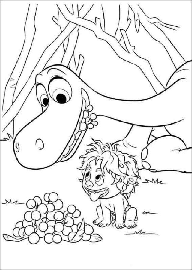 dibujo para colorear Spot y Arlo comiendo