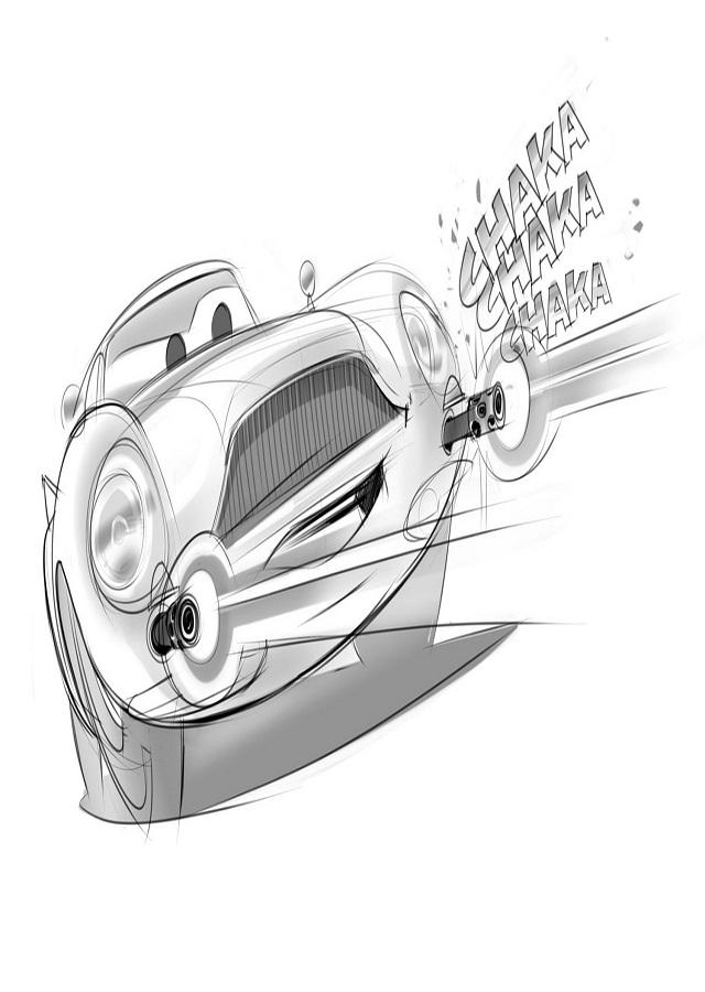 dibujo para pintar finn personaje de la pelicula de cars