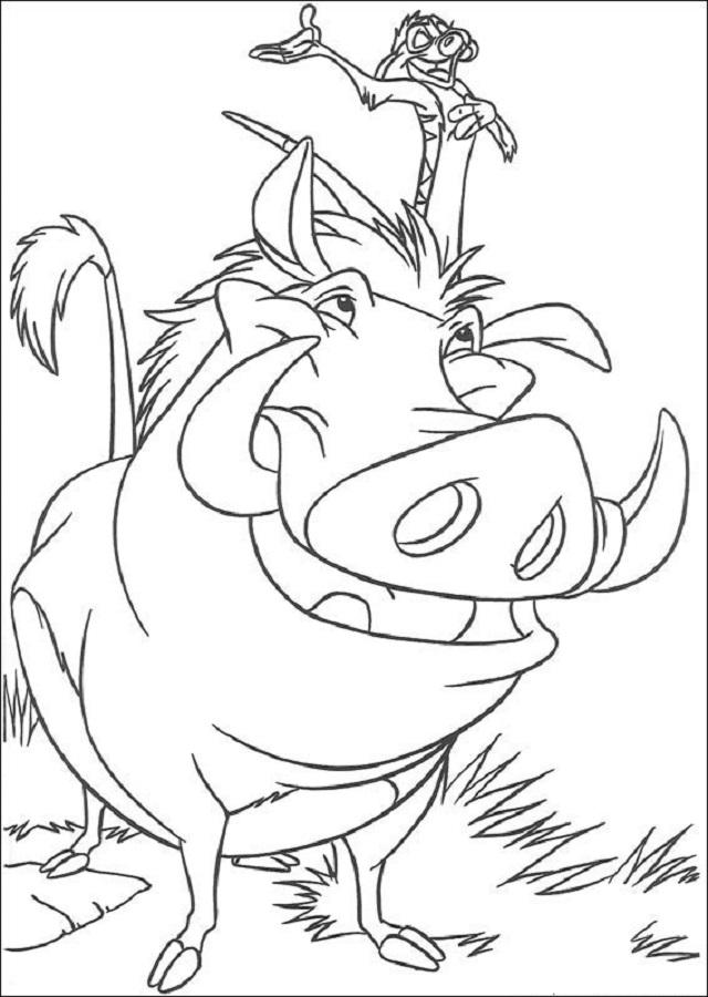 Timón es una suricata .Es una criatura solitaria que va acompañada de Pumba, que al igual que él es fugitivo de su propia manada. Hace bromas a costa de Pumba y le gusta tanto cantar como oír su voz. Le enseña a Simba su filosofía de vida (Hakuna Matata). El aunque no parezca, daría hasta su último aliento para ayudar a un amigo.Pumba es un jabalí muy bobo, llega a tiempo para salvar a Simba cuando casi muere en el desierto. Pumba parece un poco torpe y tonto. Simpático y con un corazón tan grande como su problema de gases; confía en quien sea, hasta de un carnívoro como Simba cuando lo encuentran moribundo. Cuando Simba decide hacer frente a su destino, el leal cerdo es el primero en acompañarlo.