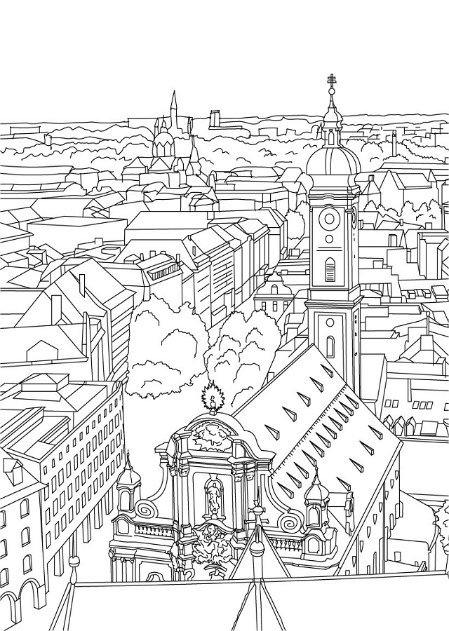 my village pictures coloring pages - photo#12