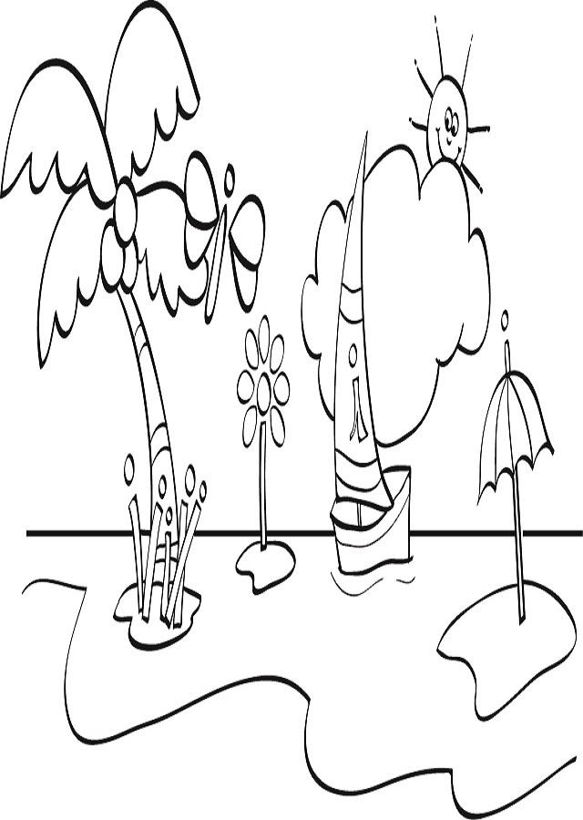 ▷playa   Dibujos para colorear