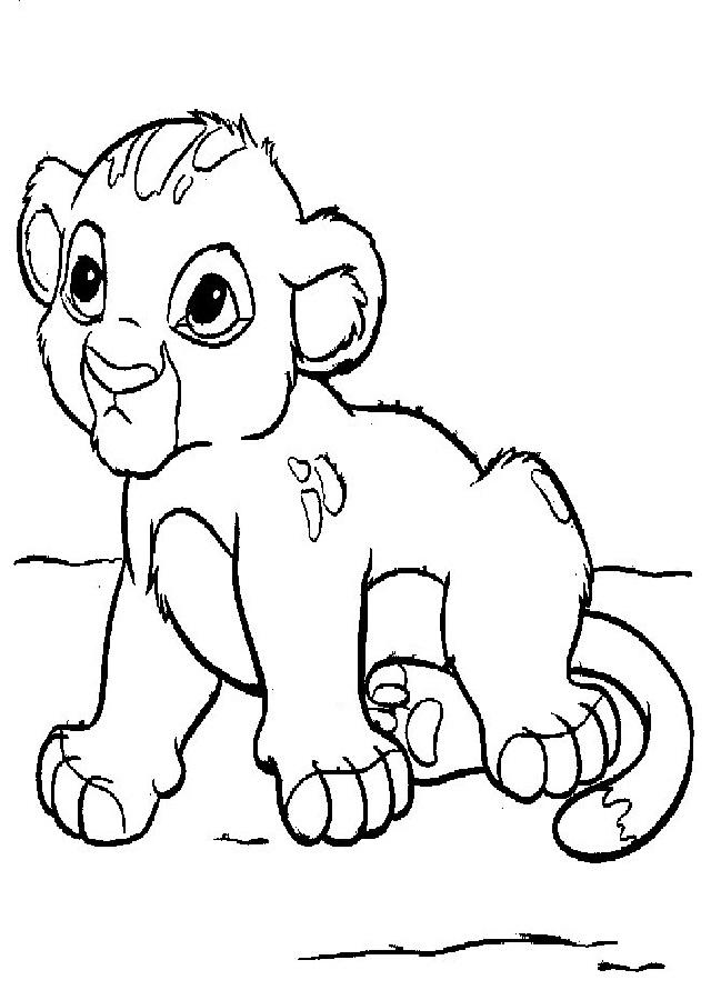leon bebe para colorear, esta en una llanura tumbado.
