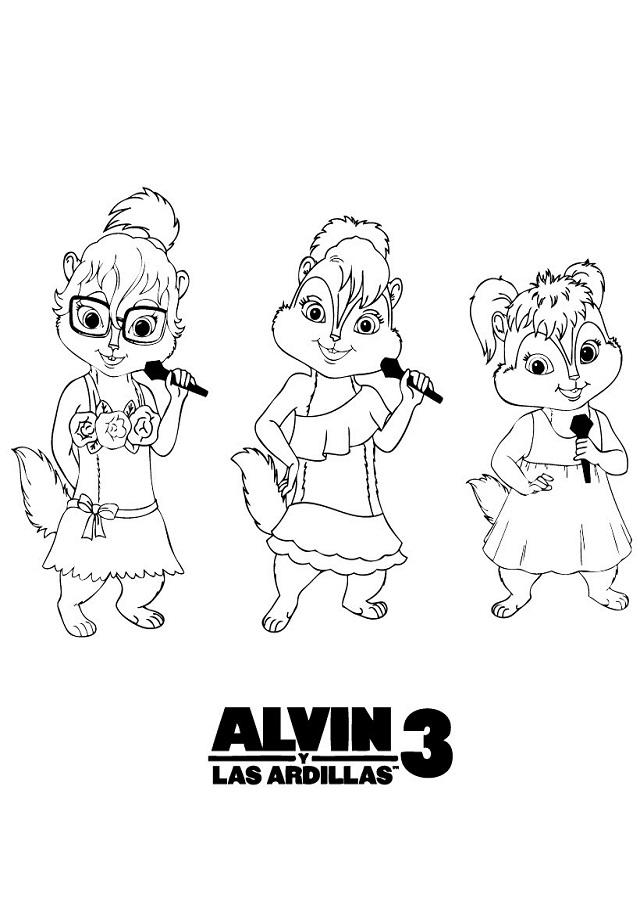 dibujo para colorear personajes de alvin 3 las ardillas