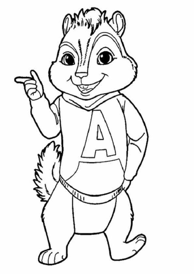 dibujo para colorear alvin ardillas disney