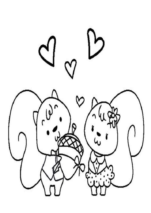 dibujo para colorear ardillas enamoradas
