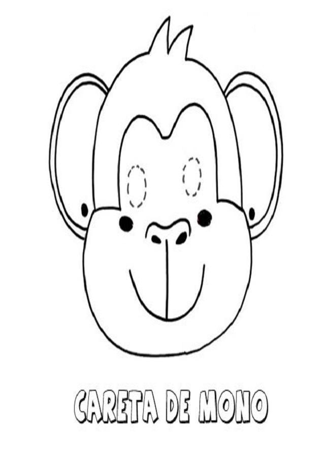 dibujo para colorear,imprimir y recortar de una careta de mono