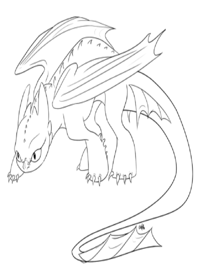 dibujo para colorear dragón desdentado