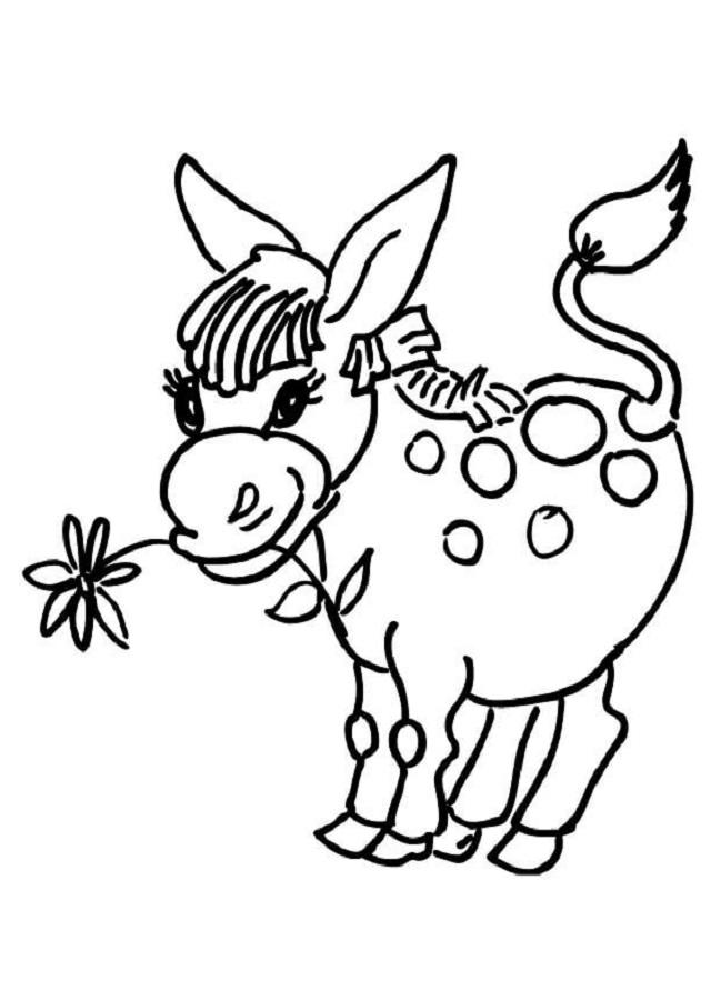 dibujo burro con flor en la boca para colorear