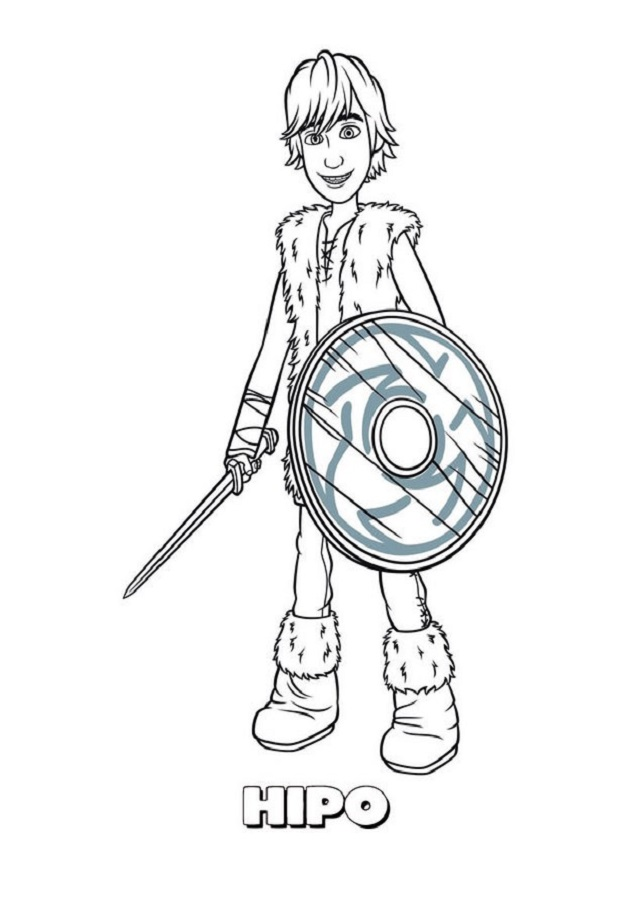 dibujo para colorear protagonista como entrenar a tu dragón