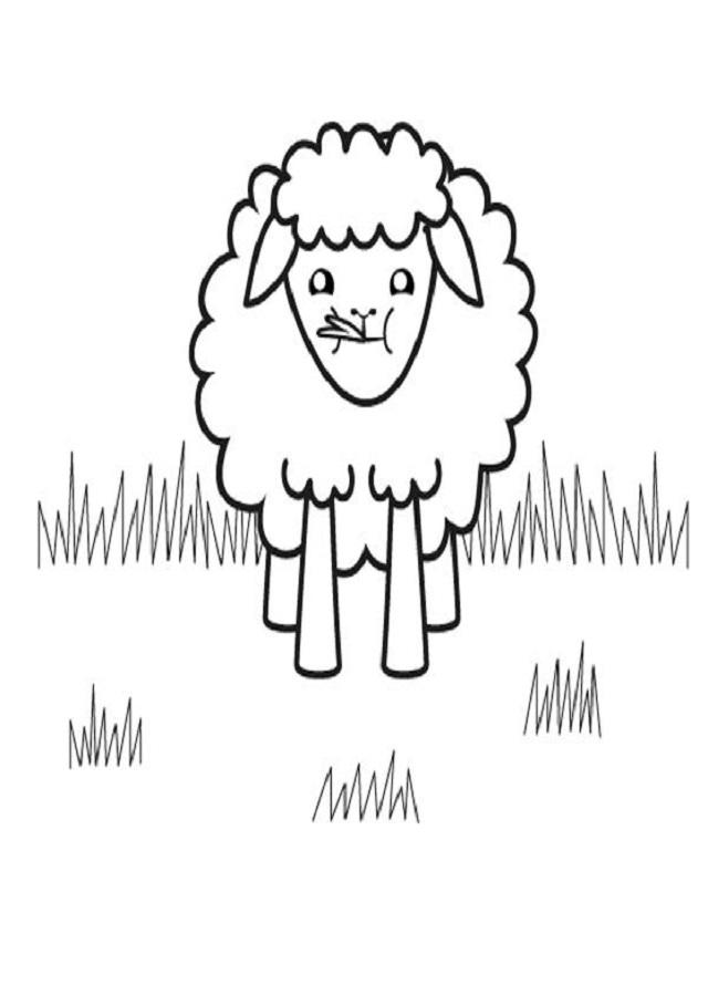 oveja comiendo para colorear