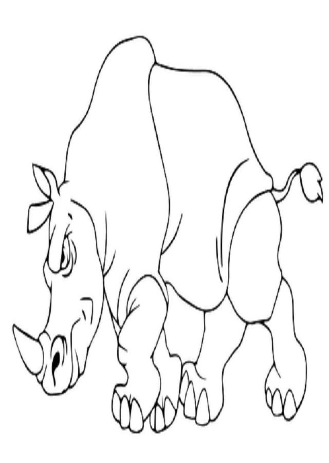 dibujo para colorear rinoceronte enfadado