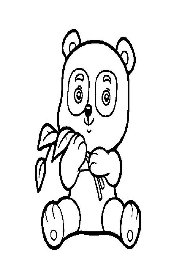 dibujo oso panda con una rama en las manos para pintar