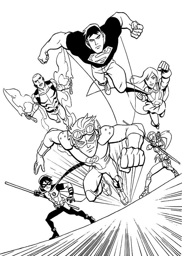 dibujo para colorear liga de la justicia