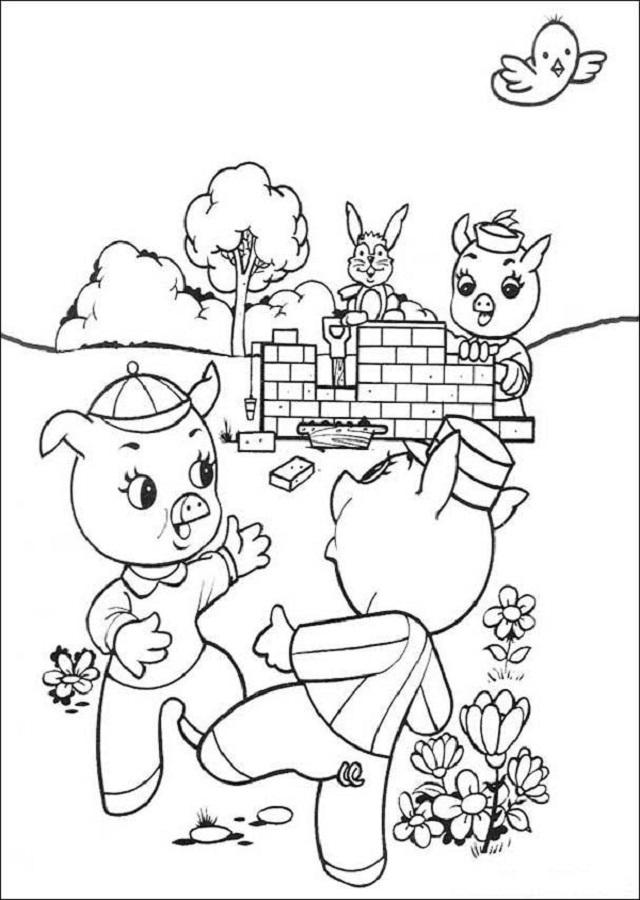 casa-de-ladrillo-tres-cerditos - Dibujos para colorear