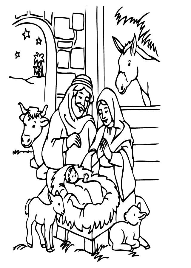 Dibujos De Navidad Con Jesus.Belenes Para Colorear Dibujos Para Colorear