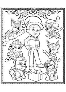 Patrulla Canina En Navidad Dibujos Para Colorear