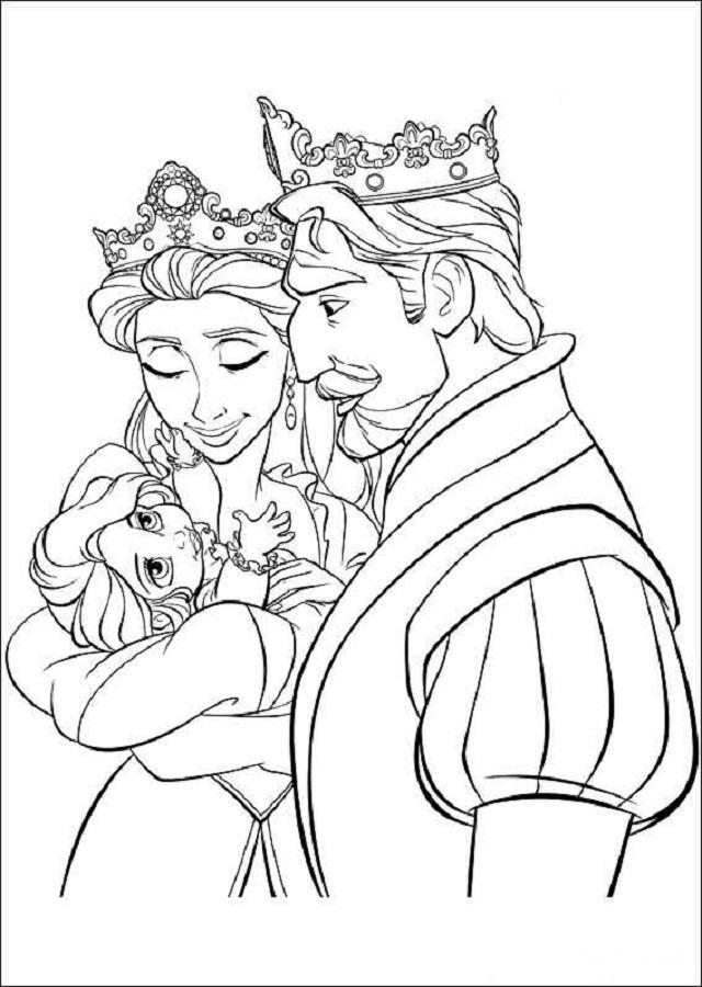 Rapunzel cuando era pequeña en brazos de sus padres los reyes