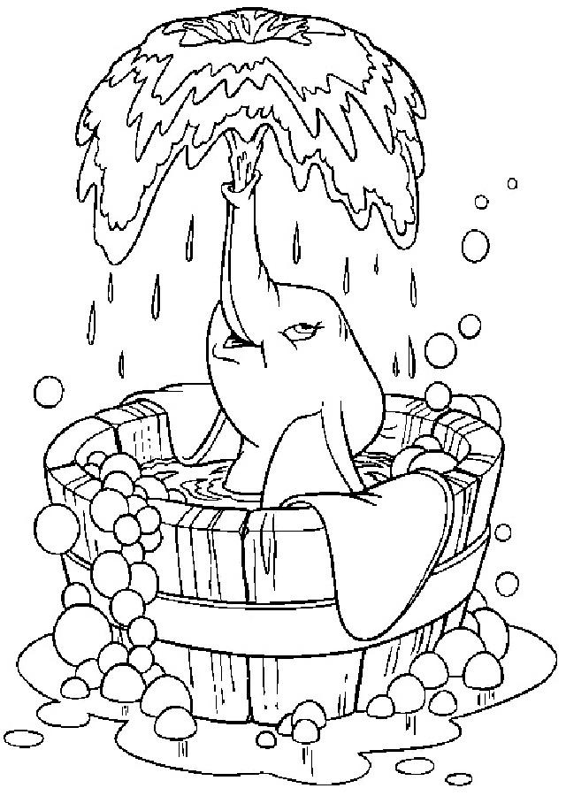 dumbo-bañandose - Dibujos para colorear