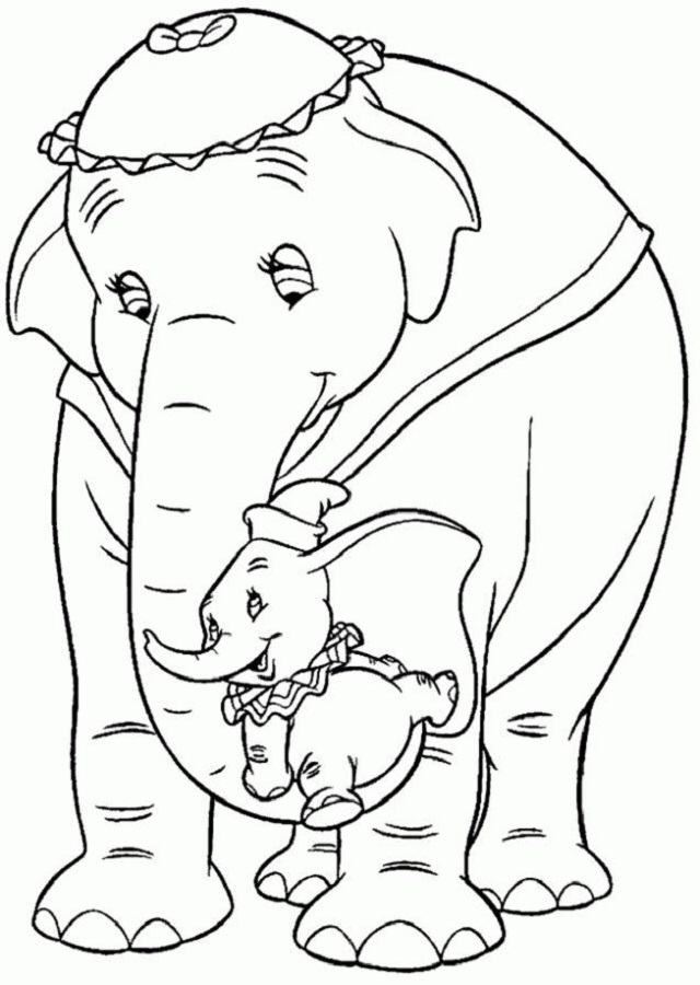 dumbo-con-su-madre - Dibujos para colorear