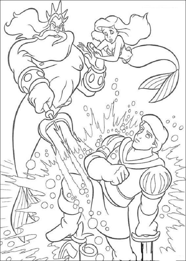 rey-triton-enfadado-con-ariel - Dibujos para colorear