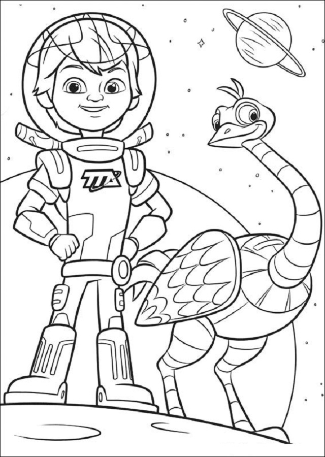 miles vuela por el espacio con su amigo merc un robot-avestruz, juntos viajan hacia nuevos mundos.