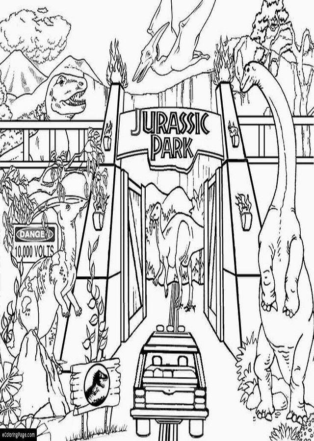 jurassic-park-entrada - Dibujos para colorear