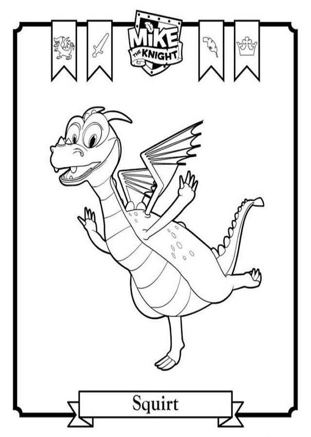 Squirt: Es el dragón azul y echa chorros de agua. Tiene dos cuernos azules y su tripa es amarilla. Es mas pequeño de tamaño que Sparkie y también acompaña a Mike en todas sus aventuras.