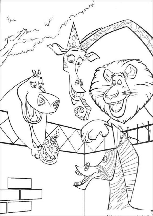 dibujos personajes madagascar celebrando cumpleaños con tarta