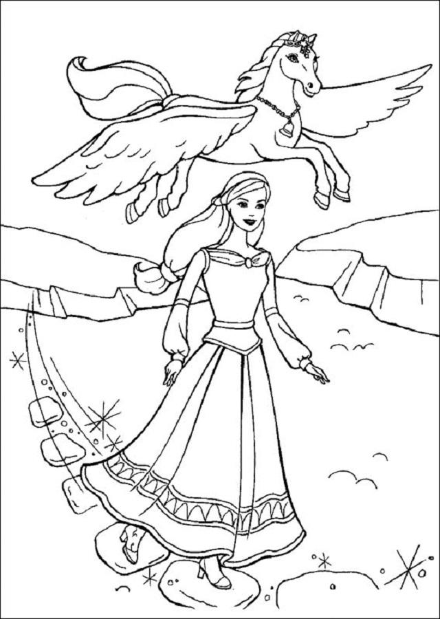 💠Dibujos Barbie y la magia de Pegaso - Dibujos para colorear