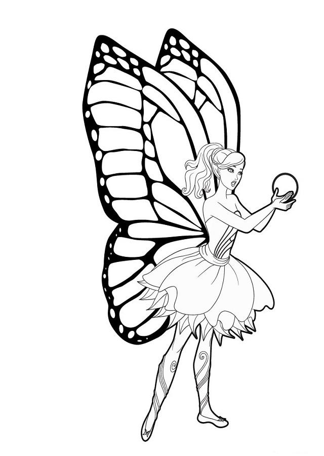 dibujo-colorear-barbie-mariposa-princesa-hadas - Dibujos para colorear