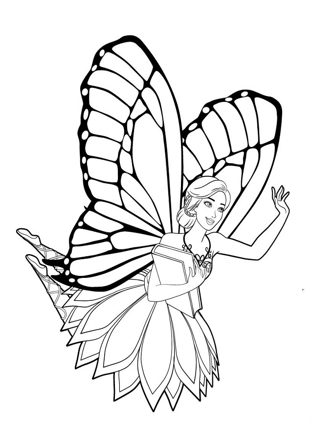 💠Dibujos Barbie Mariposa - Dibujos para colorear