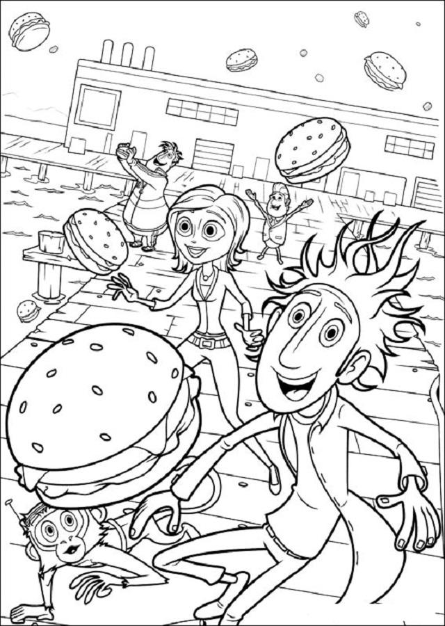 """hamburguesas con queso empiezan a llover del cielo. ¡Su máquina funciona! La comida climática es un éxito instantáneo, y Flint rápidamente entabla amistad con Sam Sparks, la chica del tiempo que llega al pueblo para cubrir lo que ella llama """"el mayor fenómeno meteorológico de la historia"""