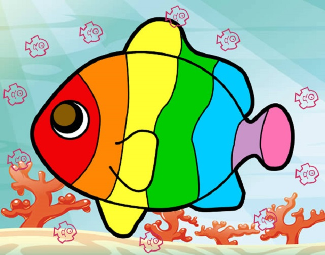 💠Dibujos para colorear el Pez Arcoiris - Dibujos para colorear
