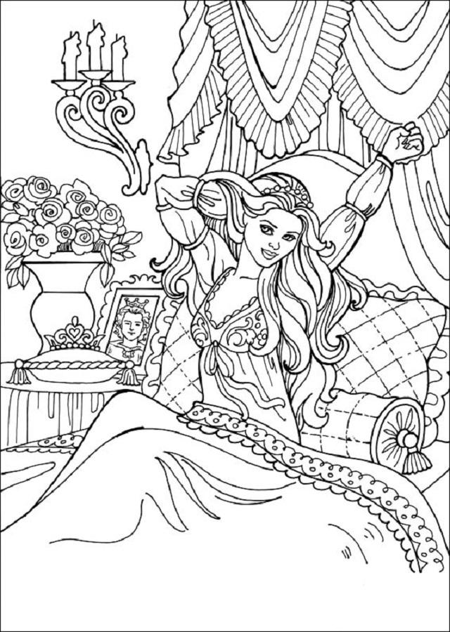 dibujo para pintar princesa leonora deperezandose por la mañana