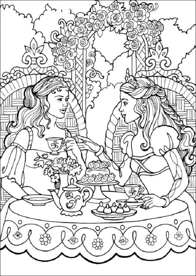 dibujo para colorear princesa leonora tomando te con una amiga