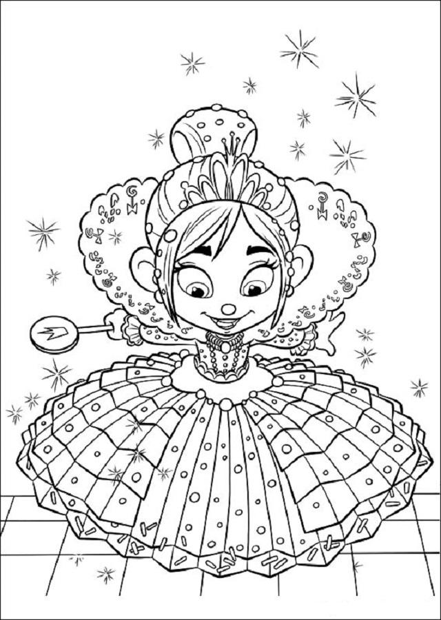 Vanellope-von-Schweetz vestida de princesa