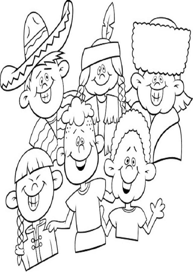 dibujo-para-colorear-niños-diferentes-culturas - Dibujos para colorear
