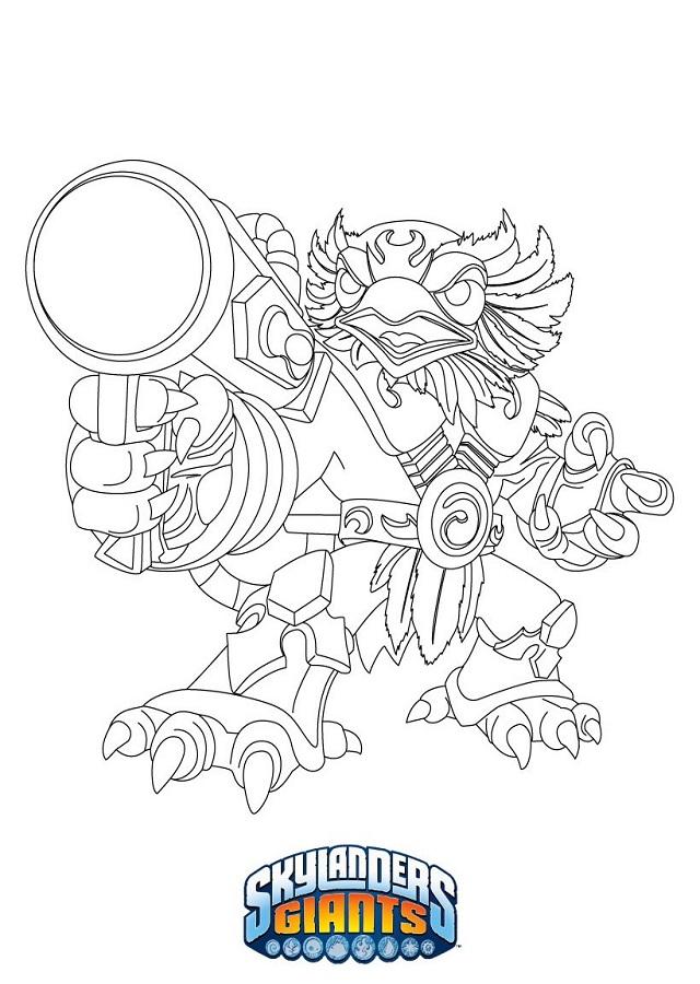 """Noble, desinteresado y valiente... Jet-Vac es un águila real. Como líder veterano del equipo Skylander, el antiguo piloto también es muy duro. Usa su mentalidad de sargento para transmitir de forma rotunda su amplio conocimiento sobre Skylands a los miembros más jóvenes del equipo. Su arma de propulsión tiene un poder eólico devastador que puede lanzar por los aires hasta a los enemigos más peligrosos. Por mucho que intente conservar su entereza, es habitual que Jet-Vac """"ponga un huevo"""" sin querer en los momentos más estresantes: enfrentarse a villanos, rescatar a transeúntes o conseguir que los alumnos estén callados durante los exámenes."""