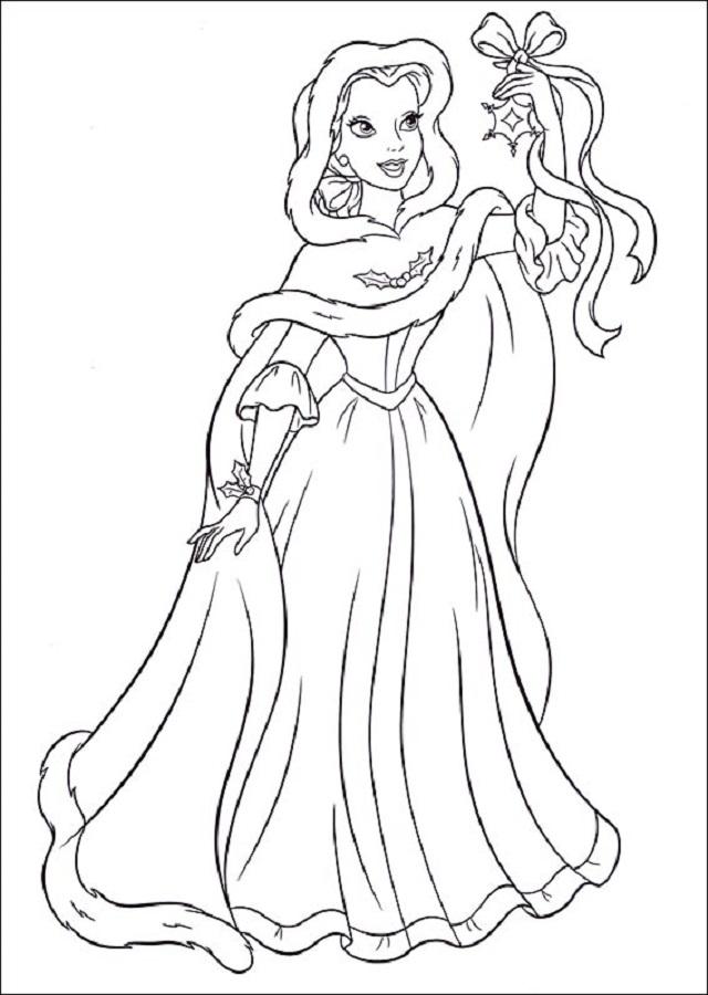princesa-navidad-bella - Dibujos para colorear
