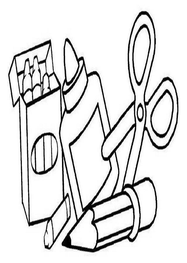 dibujos para colorear material escolar - Dibujos para colorear